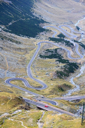 Transfagarasan Highway - mountain road in Fagaras Mountains, Romania. Stock Photo