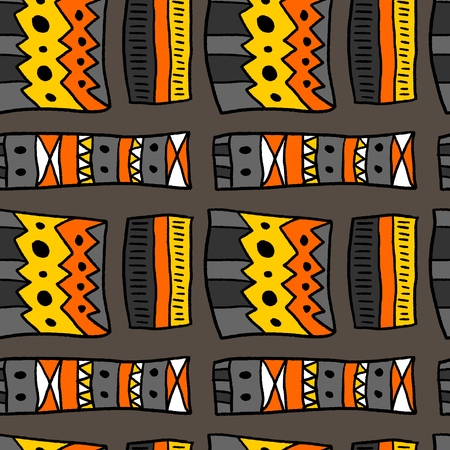 African pattern - artistic fabric material texture. Seamless background. Illustration
