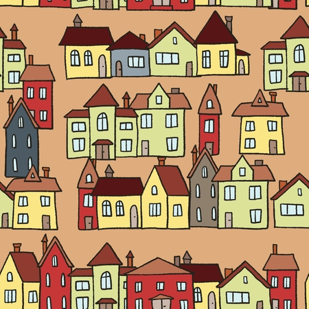 Small town homes vector illustration - seamless pattern. 矢量图片
