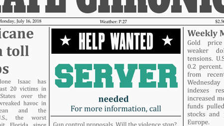 Server or waiter job offer. Newspaper classified ad in fake generic newspaper.