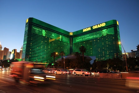 LAS VEGAS, USA - APRIL 13, 2014: MGM Grand casino resort in Las Vegas. There are 104 casinos in Las Vegas.