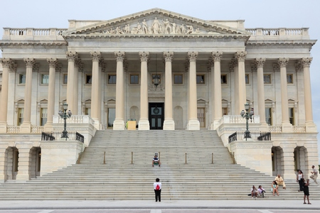 WASHINGTON DC, USA - JUNE 13, 2013: People visit the Senate at US Capitol in Washington DC. 18.9 million tourists visited capital of the United States in 2012. Editorial