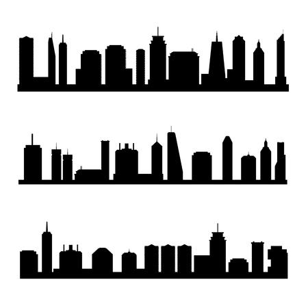 Ensemble d'illustrations vectorielles sur les toits de la ville générique. Paysages urbains.