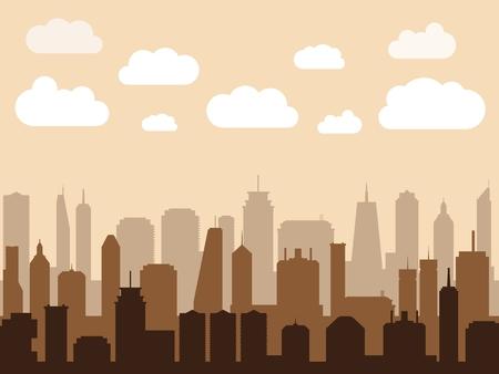 Paysage urbain de vecteur. Illustration moderne de silhouette de matin de ville - horizon de gratte-ciel. Vecteurs