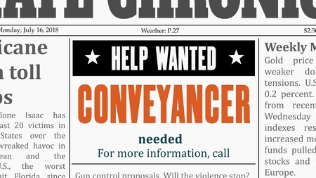 Conveyancer job offer. Newspaper classified ad in fake generic newspaper.