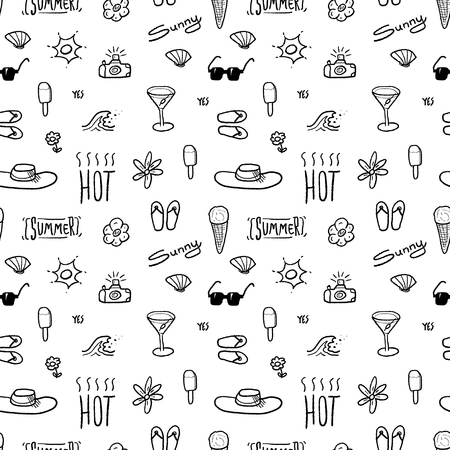Summer doodle - seamless vector pattern with beach vacation subject.
