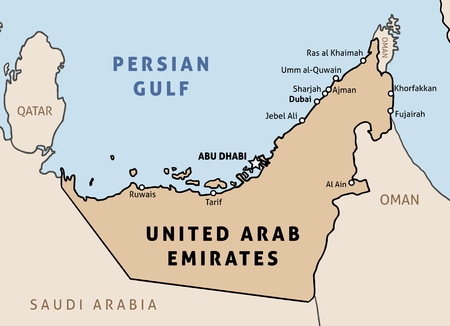 United Arab Emirates (UAE) map. Outline vector country map with main cities and data table.