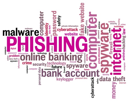 Phishing concept - compromised computer security. Word cloud.