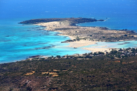 Coast of Crete island in Greece. Aerial view of Elafonisi (or Elafonissi).
