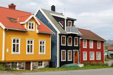 Wooden homes in Norway - colorful architecture of Kabelvag in Lofoten archipelago. Stock Photo