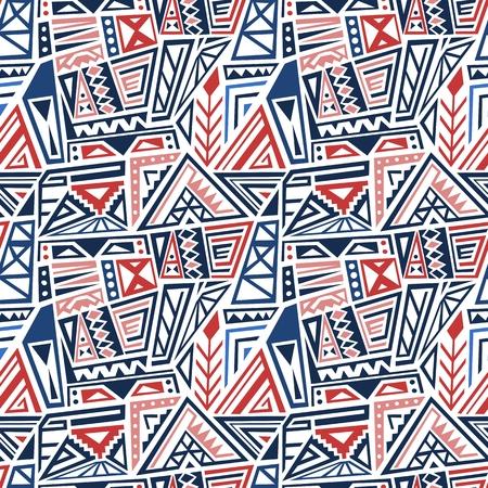 Boho fashion style pattern vector - ethnic fashion fabric design. Seamless background tile. Blue colors. Vector Illustration