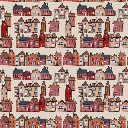 Seamless red town vector - village textile pattern illustration. 矢量图片