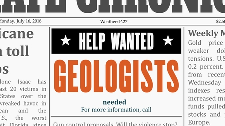 Geologists job offer. Newspaper classified ad in fake generic newspaper. Illustration