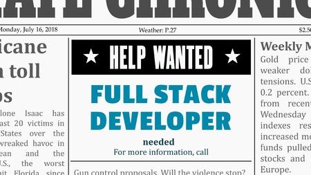 Oferta de trabajo - desarrollador full stack. Anuncio clasificado de un periódico de carrera de TI en un periódico genérico falso. Ilustración de vector