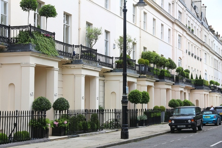 LONDON, UK - JULY 9, 2016: Belgravia district in London. Belgravia is one of wealthiest neighborhoods in the world, with extremely expensive real estate.