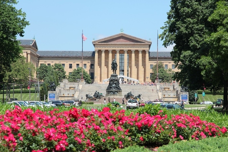 PHILADELPHIA, USA - JUNE 12, 2013: People visit Philadelphia Museum of Art. As of 2012 Philadelphia is the 5th most populous city in the US with 1,547,607 citizens.