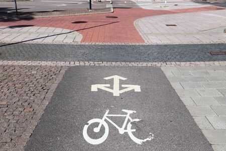 Bicycle path in Gothenburg, Sweden. Cycling transportation infrastructure.