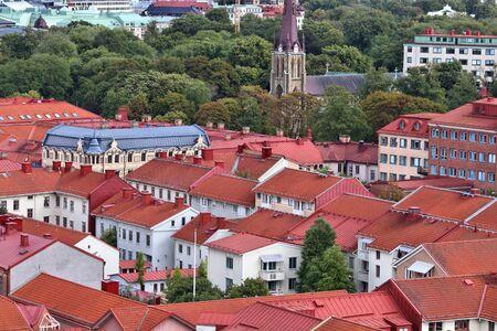 Gothenburg city in Sweden. Aerial view of Haga district.
