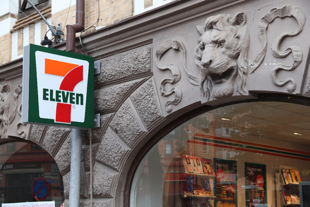 GOTHENBURG, SWEDEN - AUGUST 26, 2018: 7-Eleven convenience store in Gothenburg, Sweden. 7-Eleven is worlds largest licensor of convenience stores, with more than 46,000 shops.