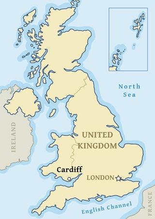 Cardiff map location - city marked in United Kingdom (UK map). Vector illustration. Ilustração