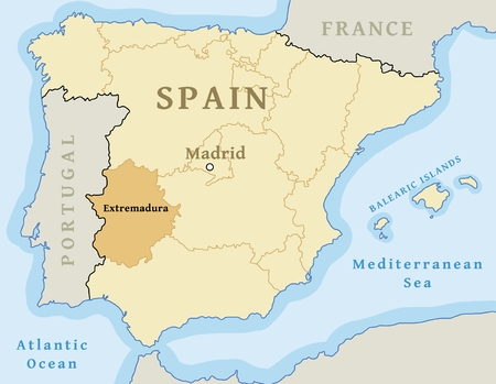 Extremadura autonomous community location map within Spain. Vector illustration. Иллюстрация