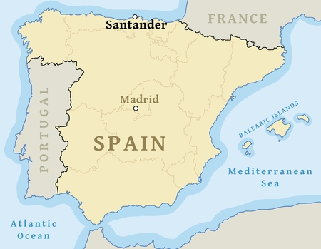 Santander map location. Find city on map of Spain - vector illustration.