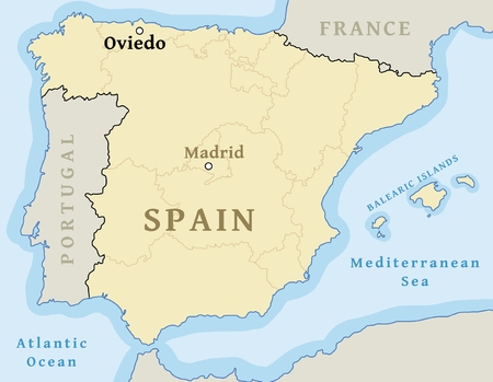 Oviedo map location. Find city on map of Spain - vector illustration. Archivio Fotografico - 116613069