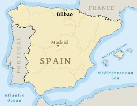 Bilbao map location. Find city on map of Spain - vector illustration.