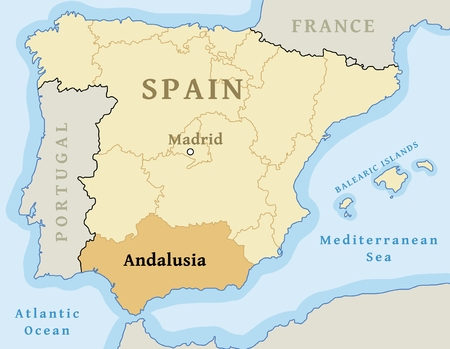 Andalusia autonomous community location map within Spain. Vector illustration.