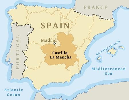 Castilla-La Mancha autonomous community location map within Spain. Vector illustration.