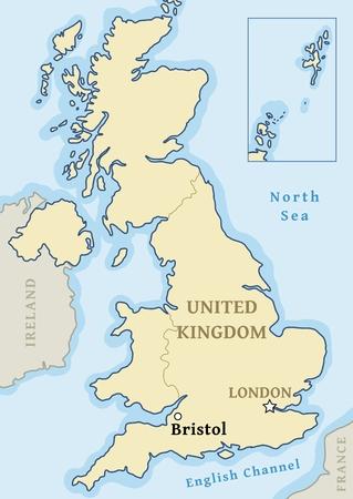 Bristol UK map location - city marked in United Kingdom (UK map). Vector illustration.