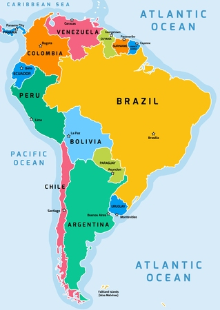 South America political division map - vector illustration. Illustration