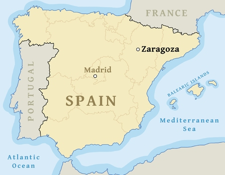 Zaragoza map location. Find city on map of Spain - vector illustration.