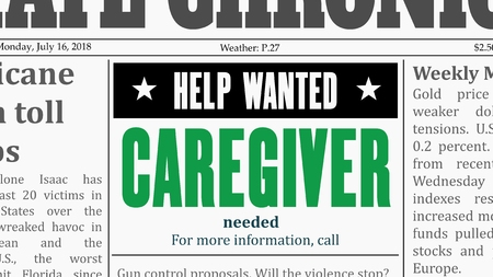 Caregiver job offer. Newspaper classified ad in fake generic newspaper.