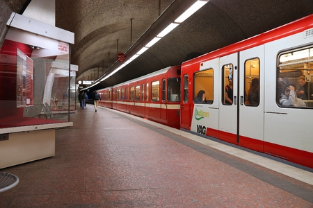 NUREMBERG, GERMANY - MAY 7, 2018: People ride subway train by VAG in Nuremberg, Germany. Nuremberg is located in Middle Franconia. 511,628 people live here. Editorial