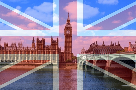 London Palace of Parliament view with UK flag. 写真素材