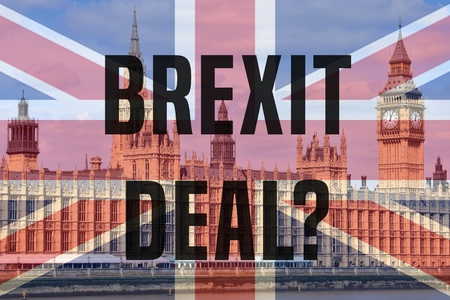 Brexit deal concept - London Palace of Parliament view with UK flag. 写真素材
