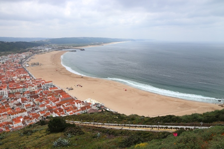 Nazare beach in Portugal. Aerial view with funicular.