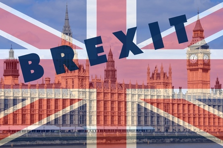 Brexit concept - London Palace of Parliament view with UK flag.