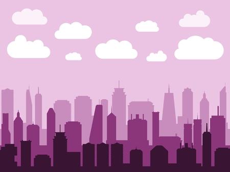 City skyline silhouette vector. Modern urban cityscape illustration.