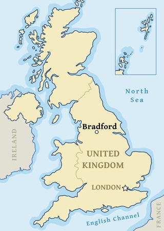 Bradford map location - city marked in United Kingdom (UK map). Vector illustration. Illustration