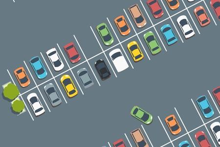 Aparcamiento del centro comercial. Vector de coches aparcados. Ilustración simple.