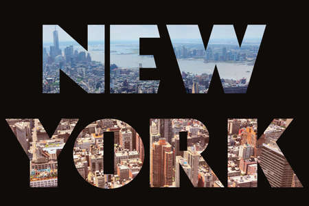 New York text sign - city name with background travel postcard photo. Foto de archivo