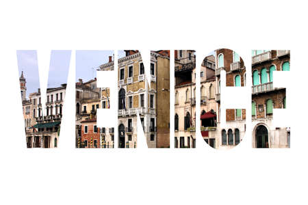 Venice text word sign - Italy city name silhouette postcard.