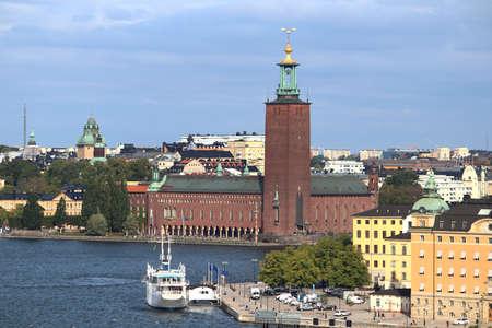 Stockholm city skyline in Sweden. Stadshuset - City Hall. 免版税图像