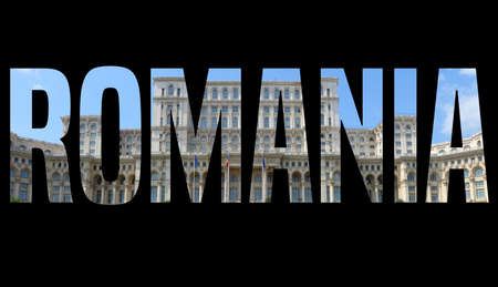 Romania text sign - country name word photo silhouette. Zdjęcie Seryjne