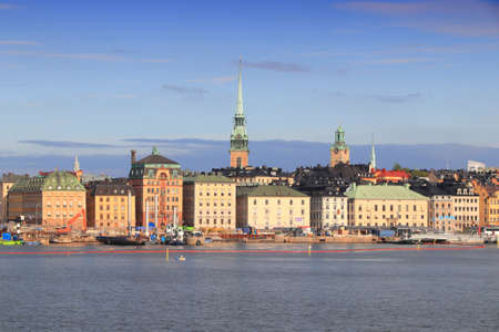 Stockholm morning skyline in Sweden. Gamla Stan waterfront (the Old Town).