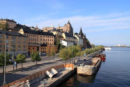 Stockholm city in Sweden. Sodermalm island skyline. 免版税图像