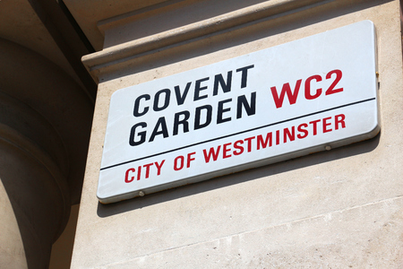 LONDON, UK - JULY 9, 2016: Covent Garden street sign in London, UK. London is the most populous city in the UK with 13 million people living in its metro area.