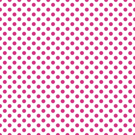 Seamless polka dot pattern vector. Amaranth red on white. Polka dots texture.
